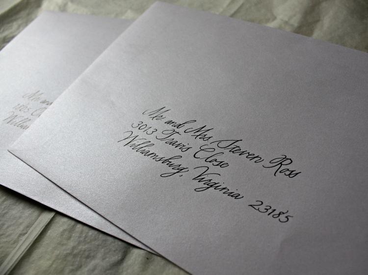 Charlottesville calligrapher modern wedding invitation envelopes bluestocking calligraphy basho style stopboris Gallery