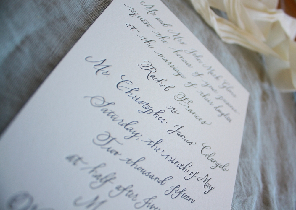 Bluestocking Calligraphy / Wedding invitation close-up