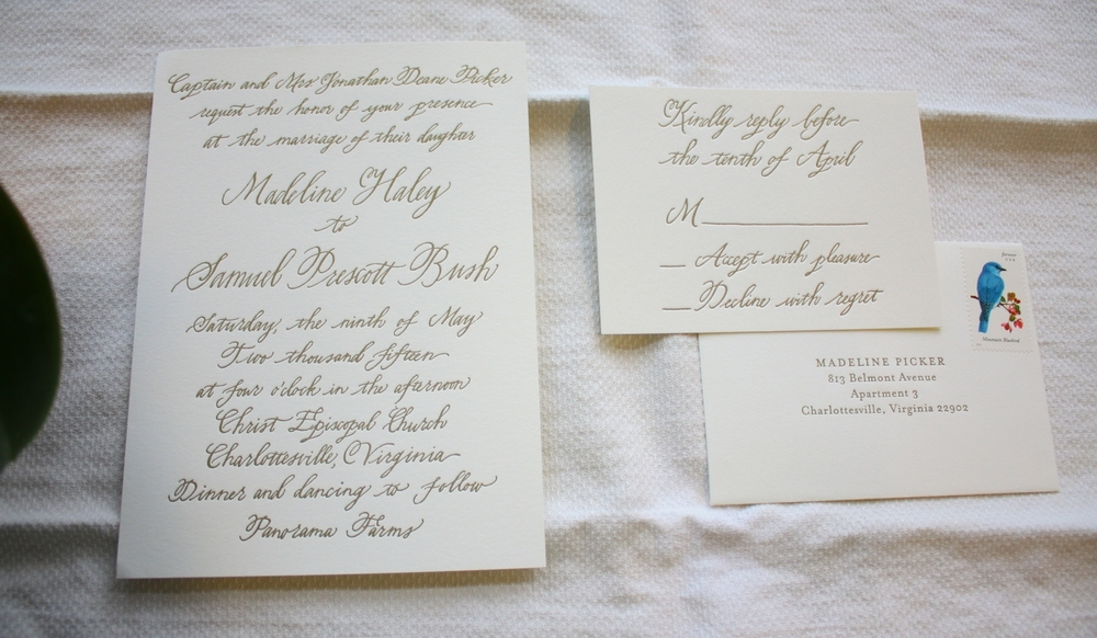 Bluestocking Calligraphy / Letterpress invitation