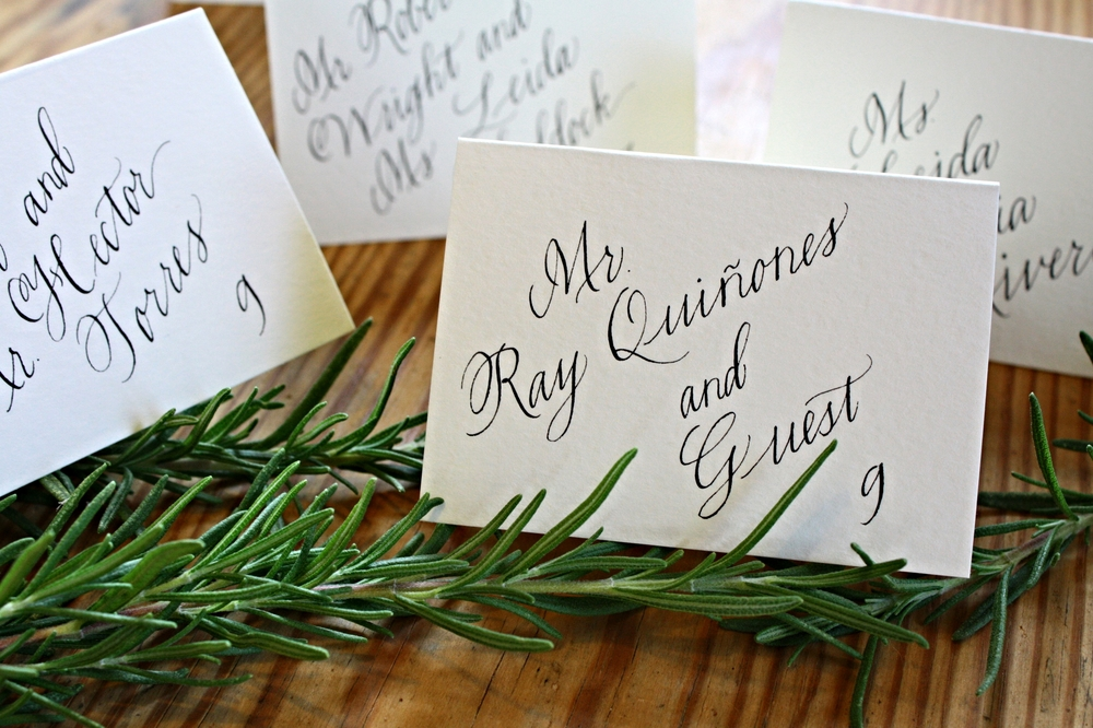 Bluestocking Calligraphy / Bloom place cards (with rosemary)