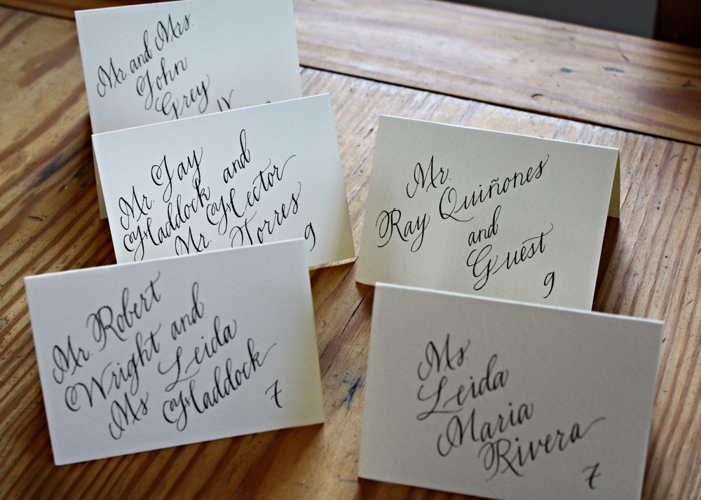 Bluestocking Calligraphy / Place cards with a slant