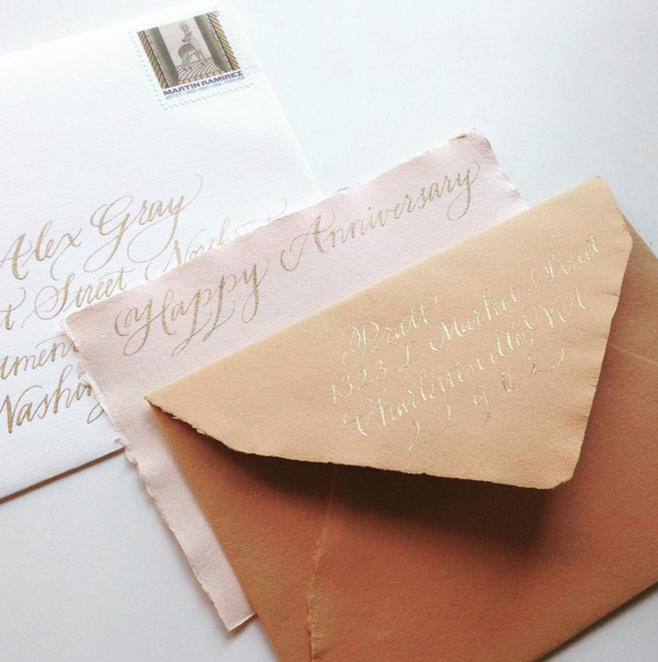 An anniversary card on handmade paper for my sister and brother-in-law.