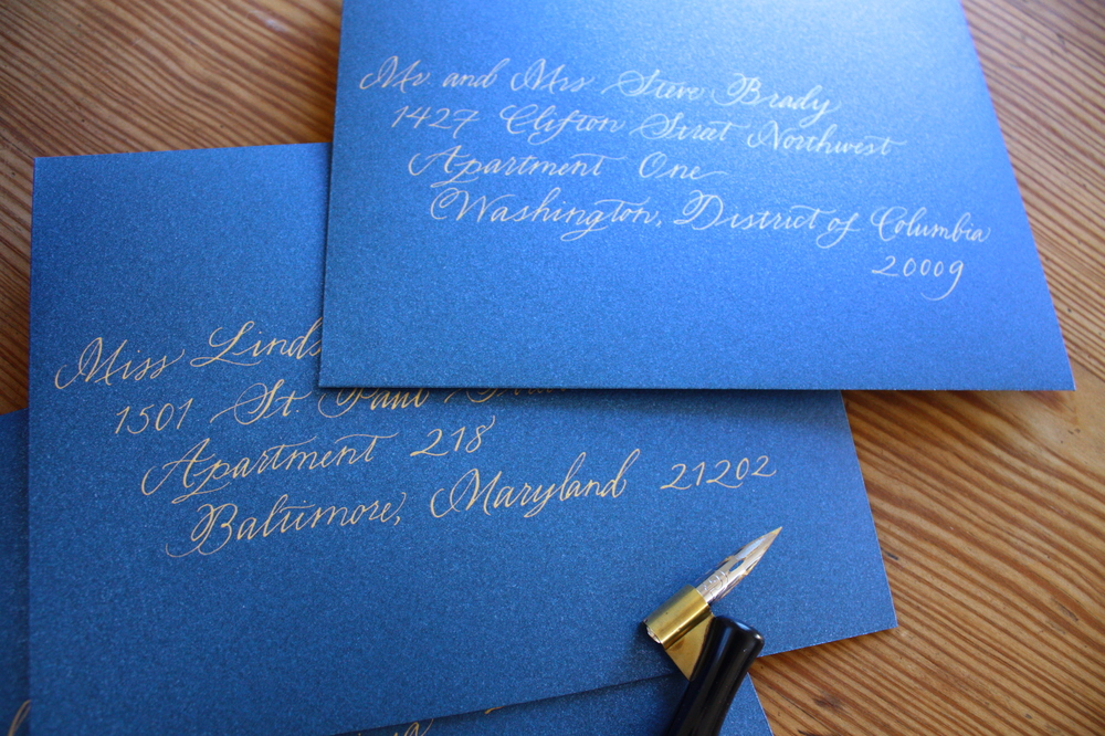 Bluestocking Calligraphy / Envelopes in the Hawthorne style