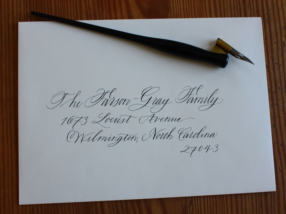 Modern way to address an envelope to a family / Bluestocking Calligraphy