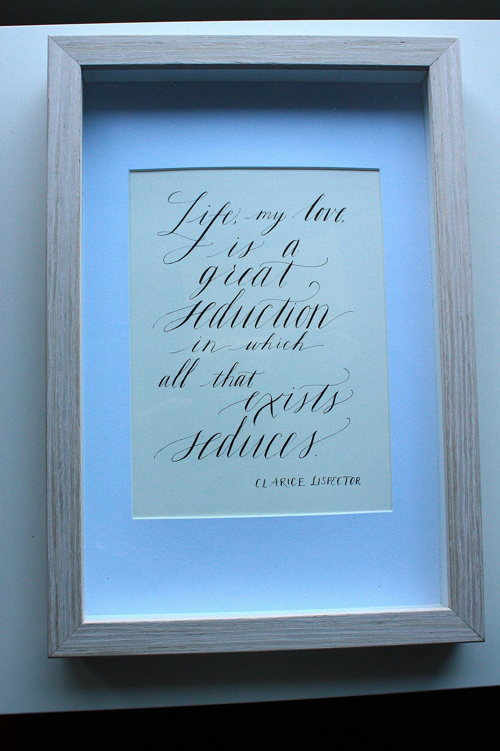 Bluestocking Calligraphy / Calligraphy quote from Clarice Lispector