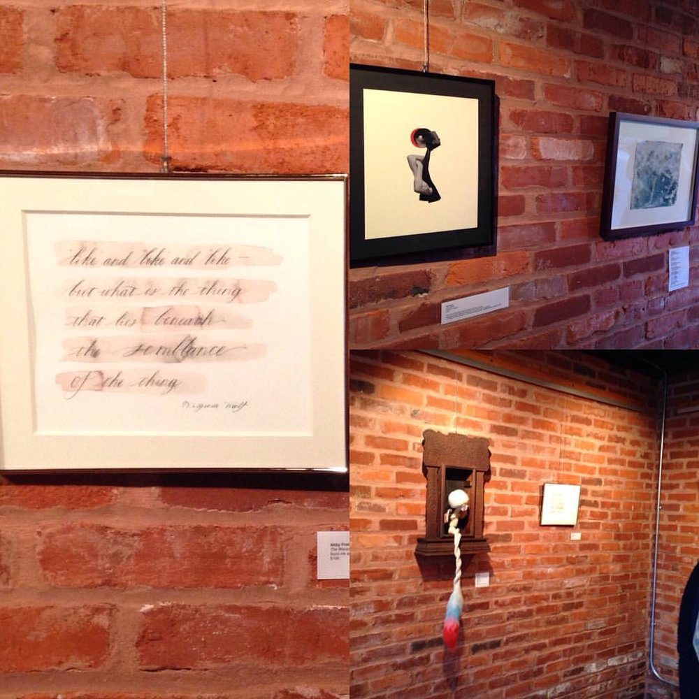 Small collage of my work hanging in the gallery.