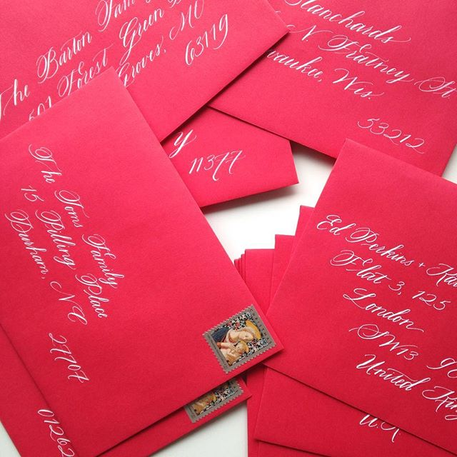 Cards on their way to family and friends near and far.