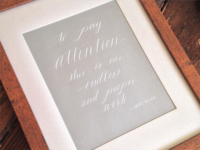 Friends, this little piece is up for auction on Saturday night to benefit @havencville and @newcityartsinitiative! Bids start at $45. Hope to see you there! #maryoliver #wisdom #attention #calligraphy #handlettering