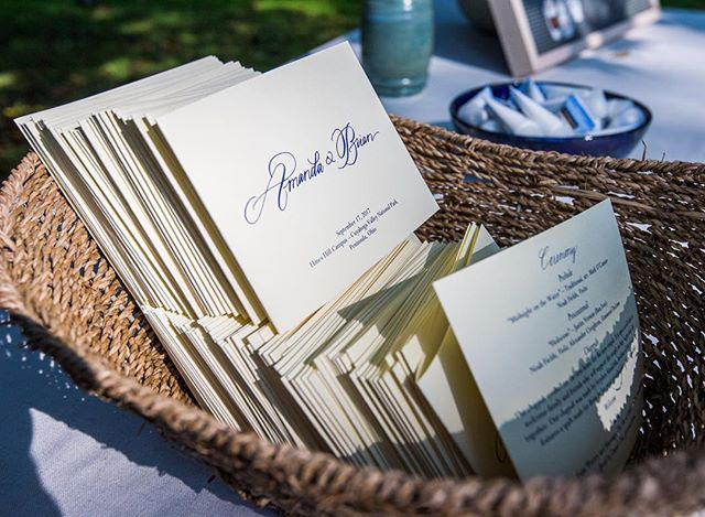 Programs for a fall wedding in a park. Photo by @kenblaze.
