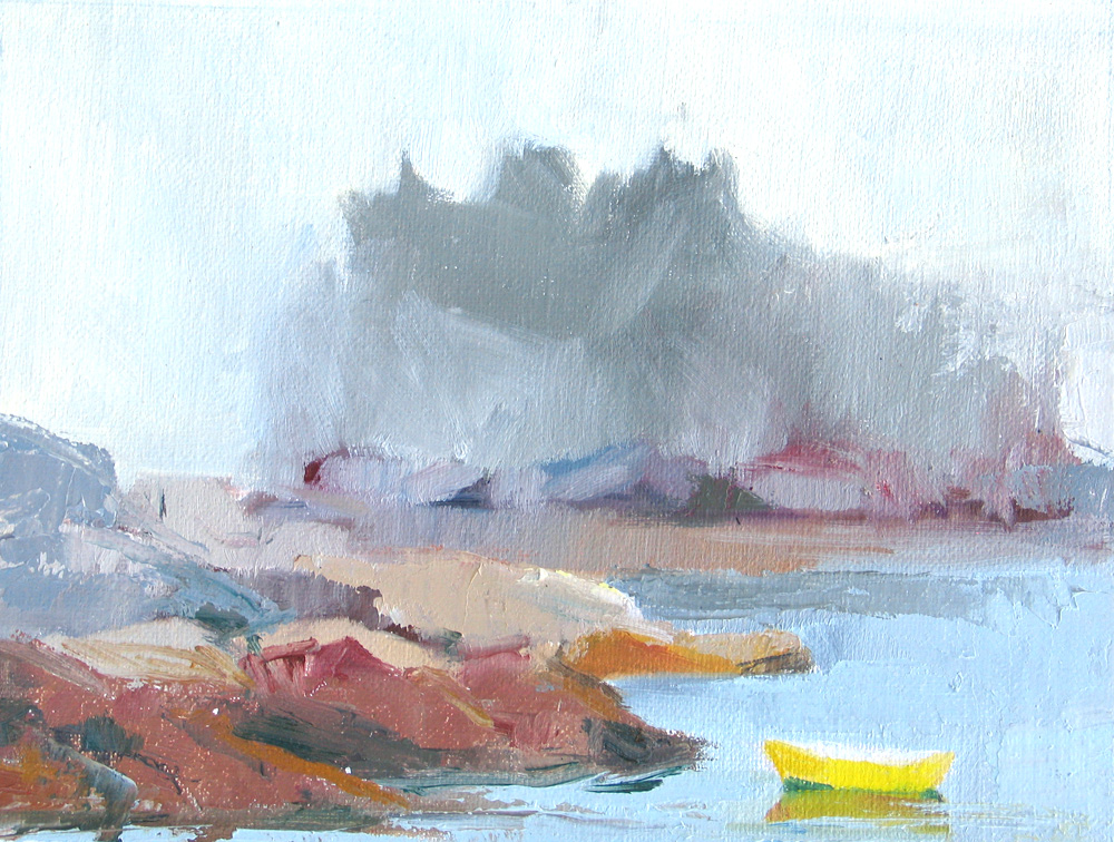 Sand Beach Fog, oil in linen  painted plain air 2013
