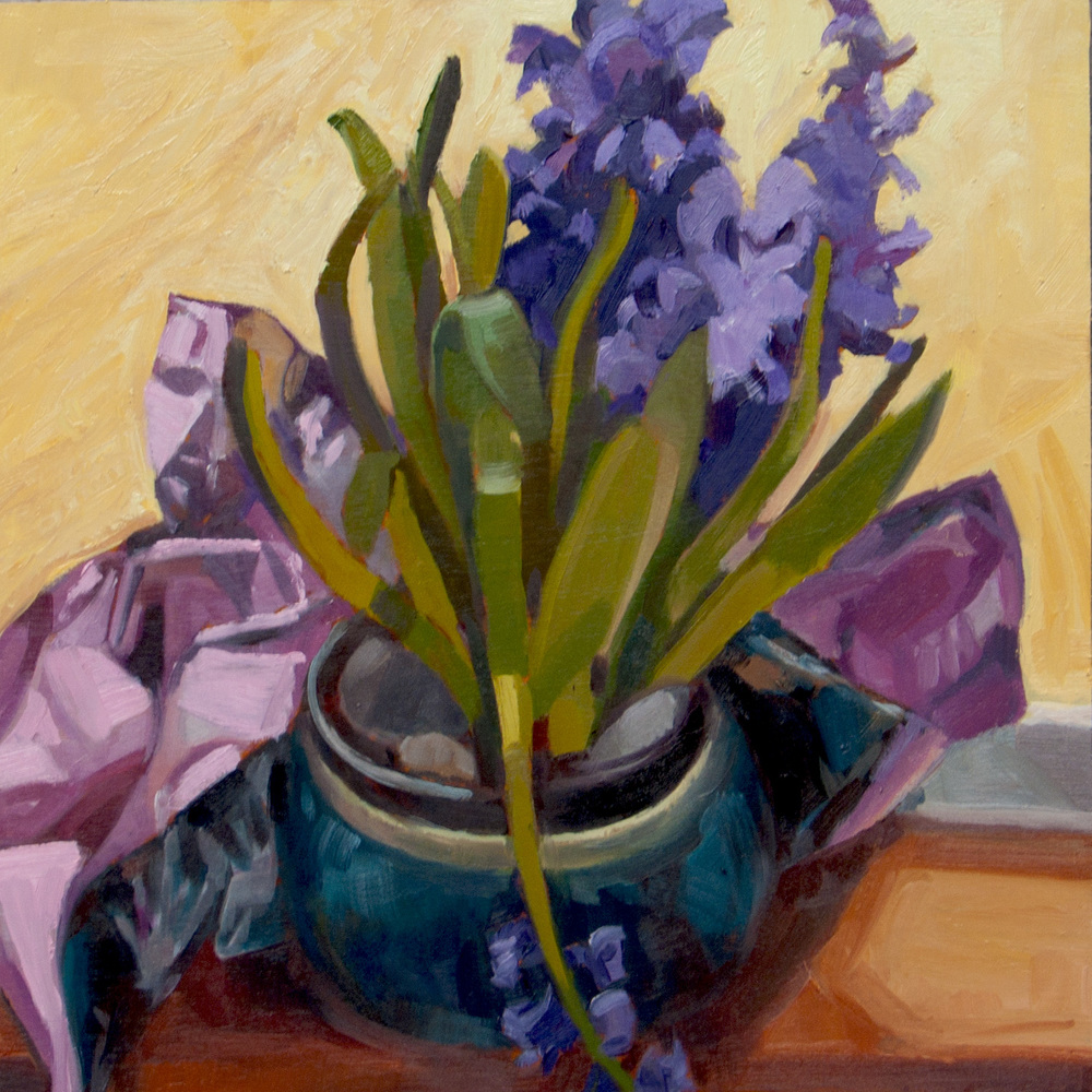 hyacinth in foil wrap oil painting
