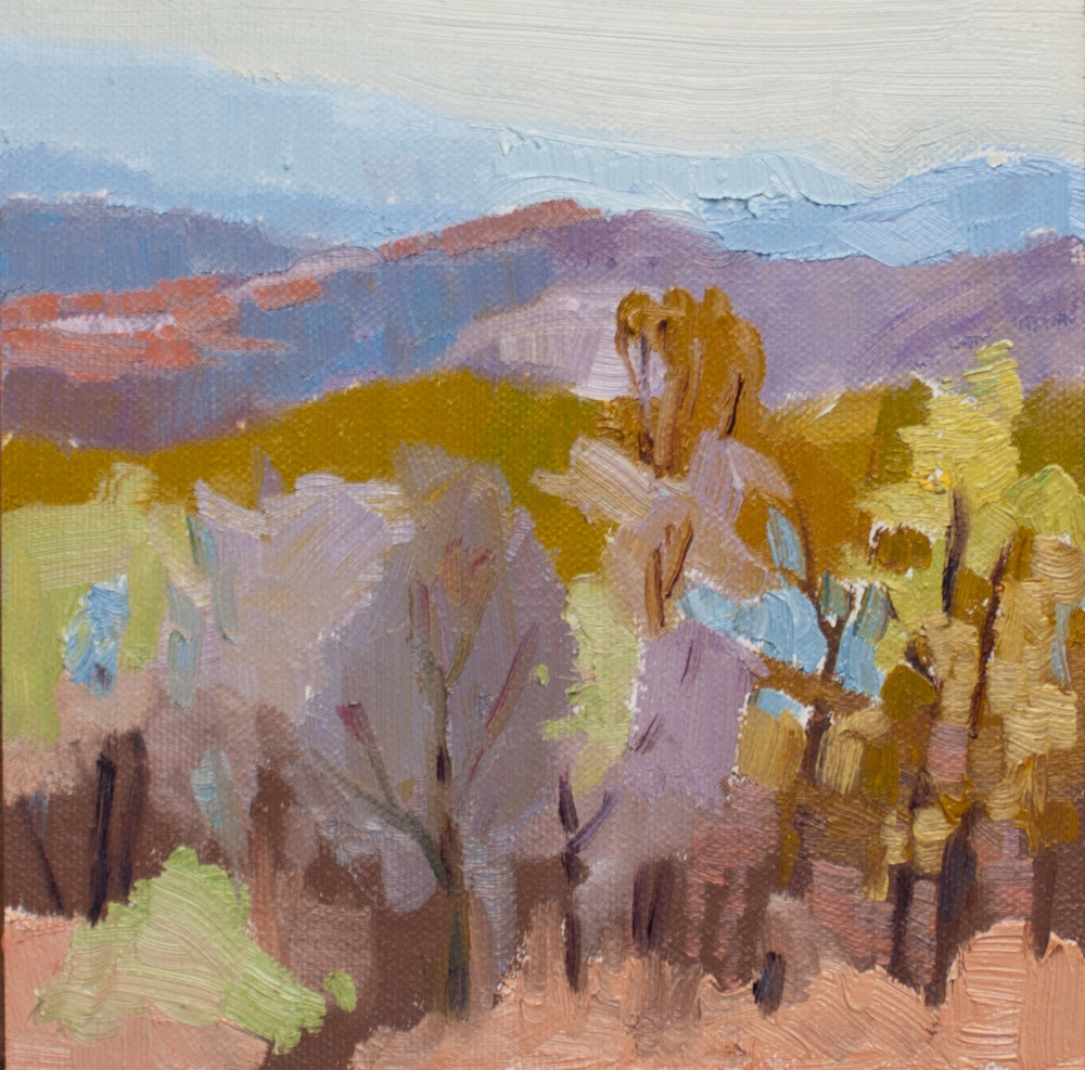 "Appalachian Fall 4 • 6"" x 6"" • oil on linen panel"