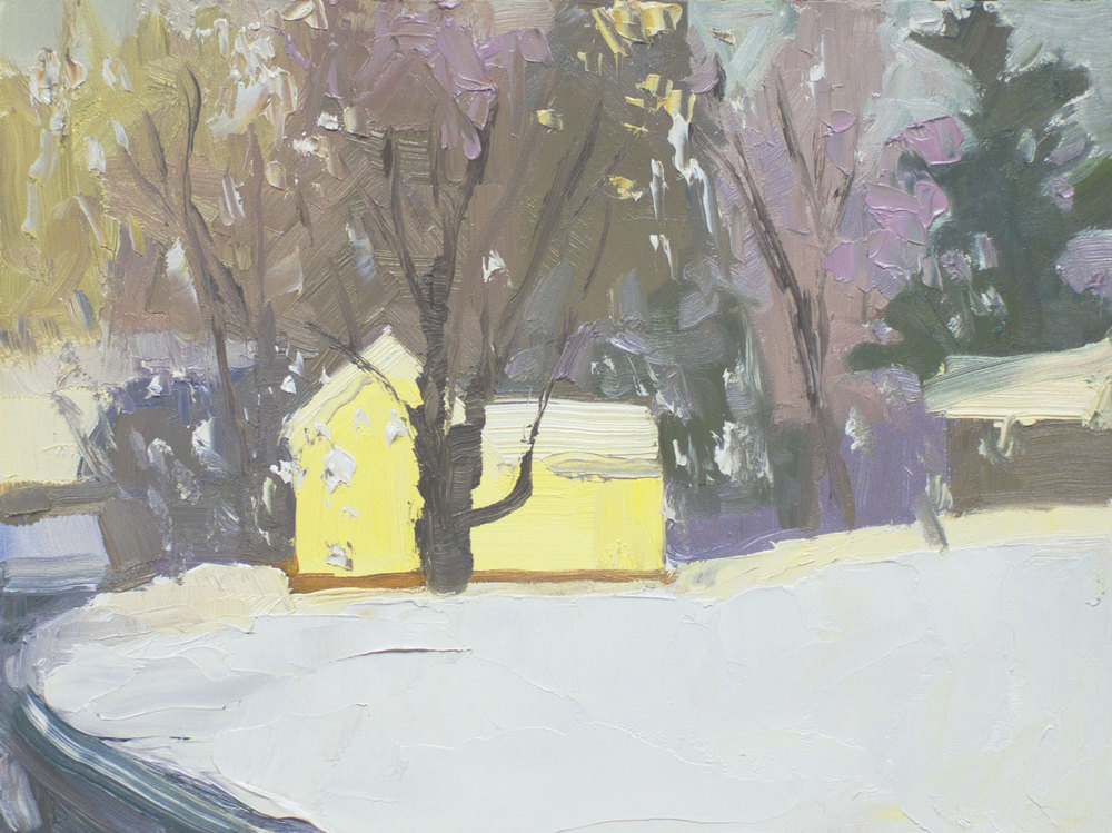 "Snow Showers • 6"" x *8"" • oil on archival board"