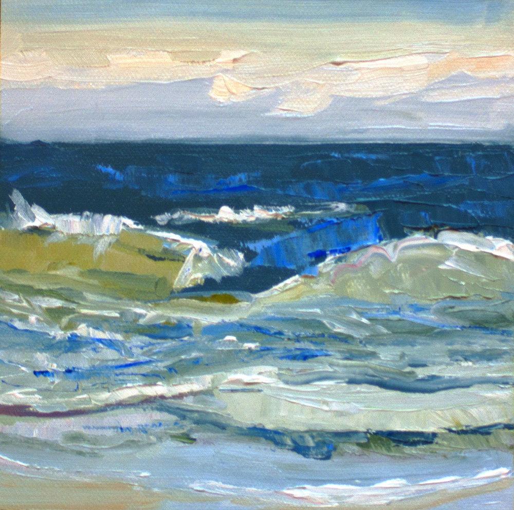 """Winter Beach • 6"""" x 6"""" • oil on panel"""