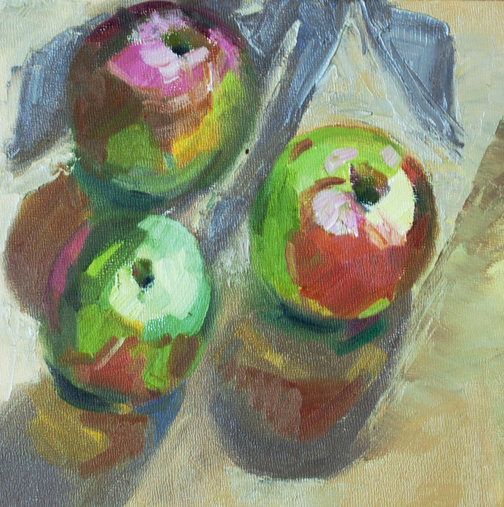 "3 Apples • 8"" x 8"" • oil on panel"
