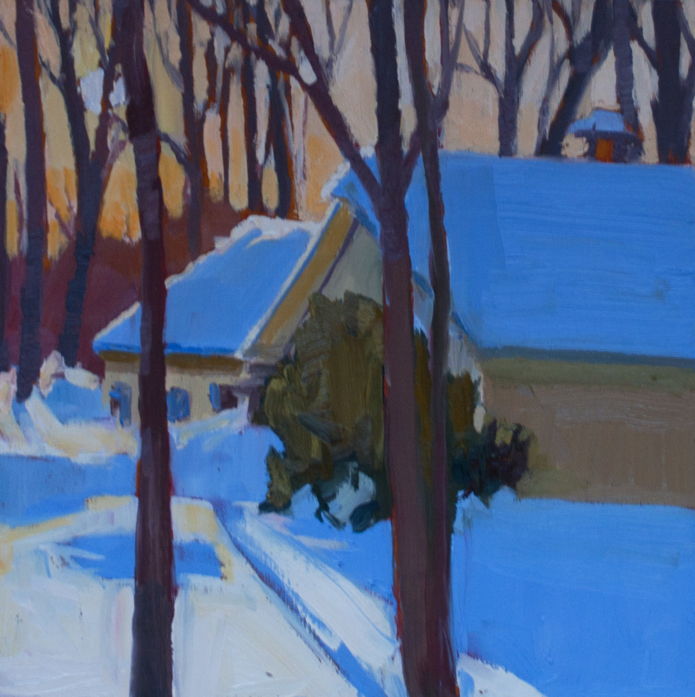 "Lyle's in Winter • 8"" x8"" • oil on wood"
