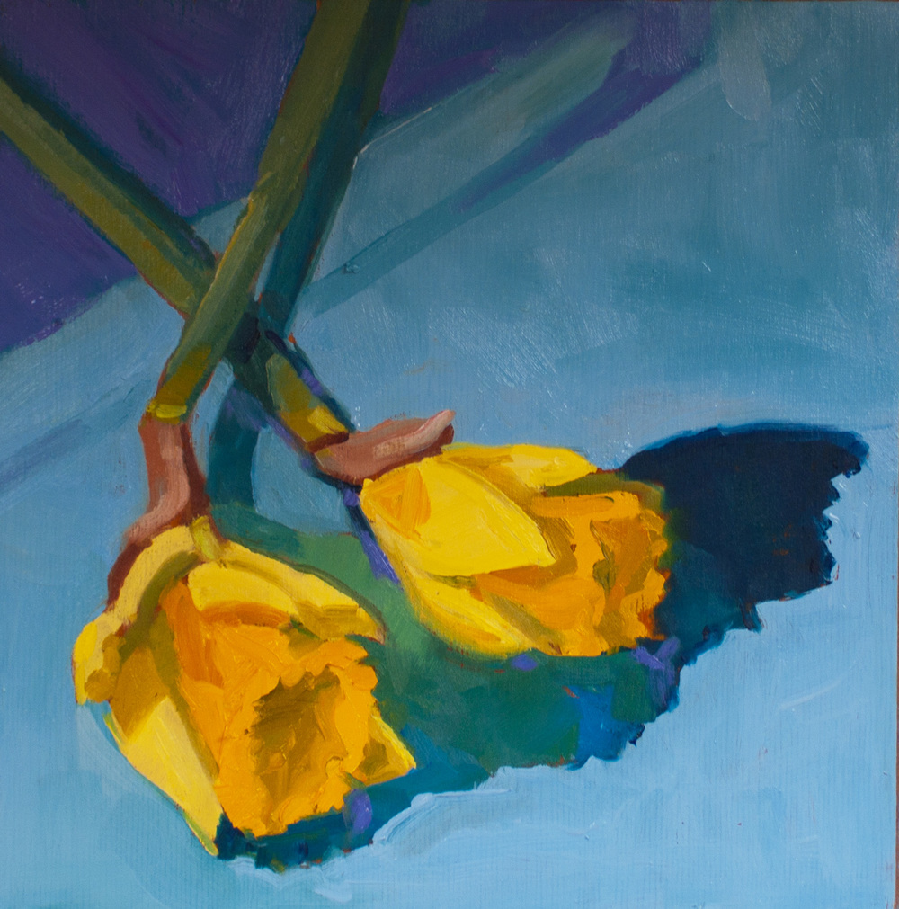 "Two Daffodils • 8"" x8"" • oil on wood"
