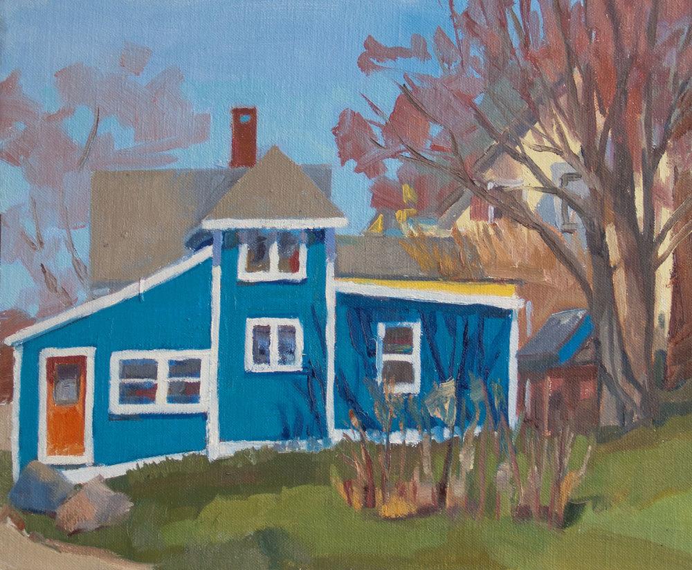 "That Blue House • 9"" x 12"" • oil on linen"