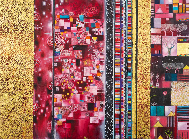 "Transmigration Story (The Map of Red Night's Garden) Oil, gold leaf, beeswax on canvas             36"" x 48"""