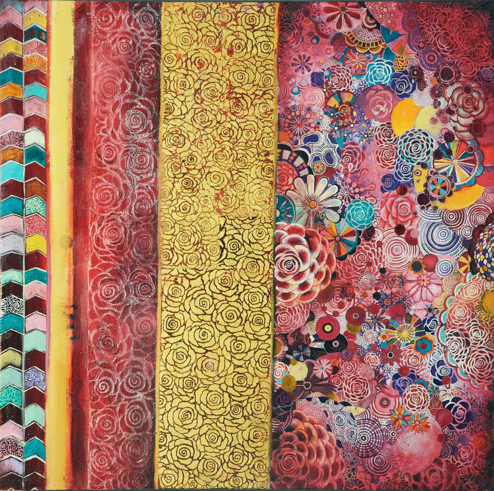"Natural Order #2 (What's Yours is Mine) Oil, gold leaf, beeswax on canvas       30"" x 30"""