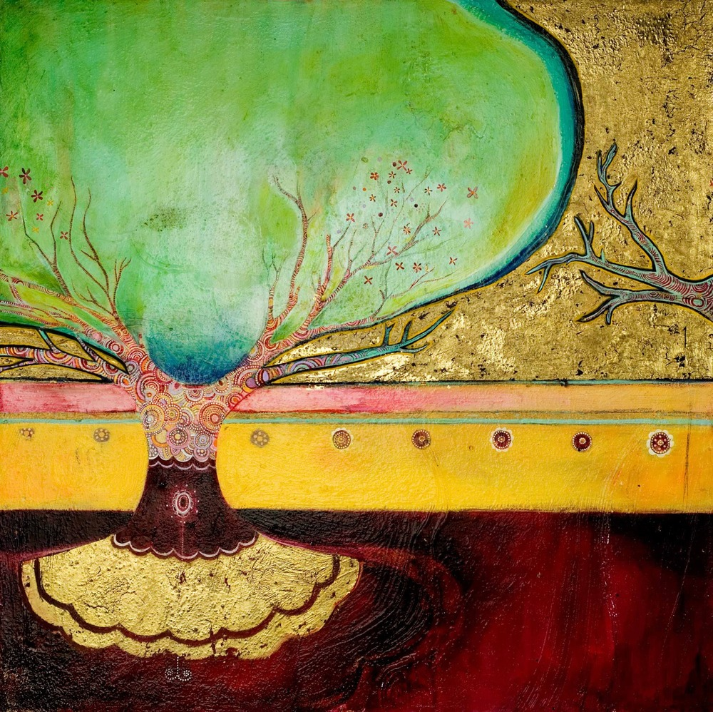 "Ornamented Tree (Reverie in Blue-Green) Oil, graphite, gold leaf on canvas        30"" x 30"""