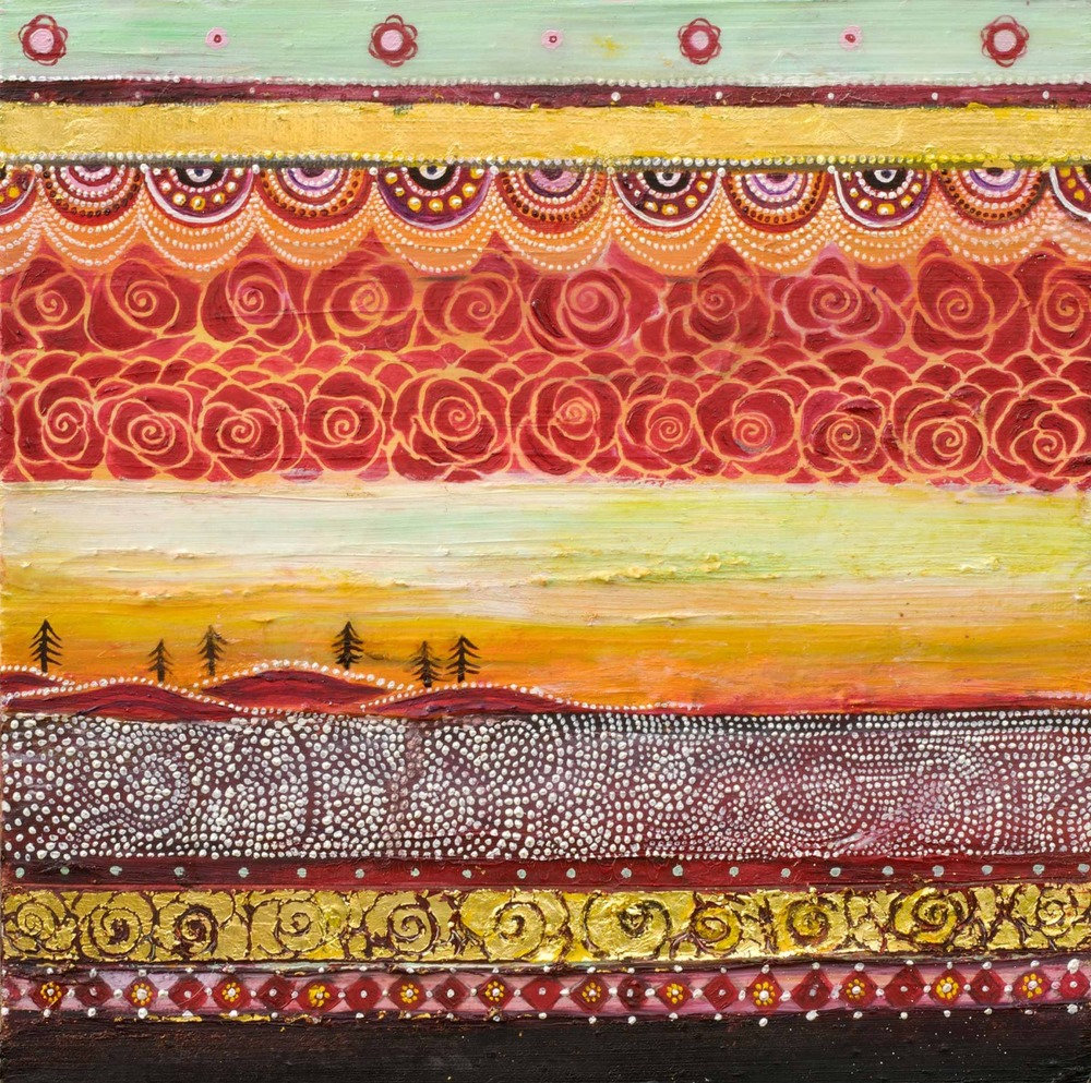 "Horizontal Tapestry (Land with Hidden Sun) Oil, graphite, gold leaf on canvas       10"" x 10""/     SOLD"