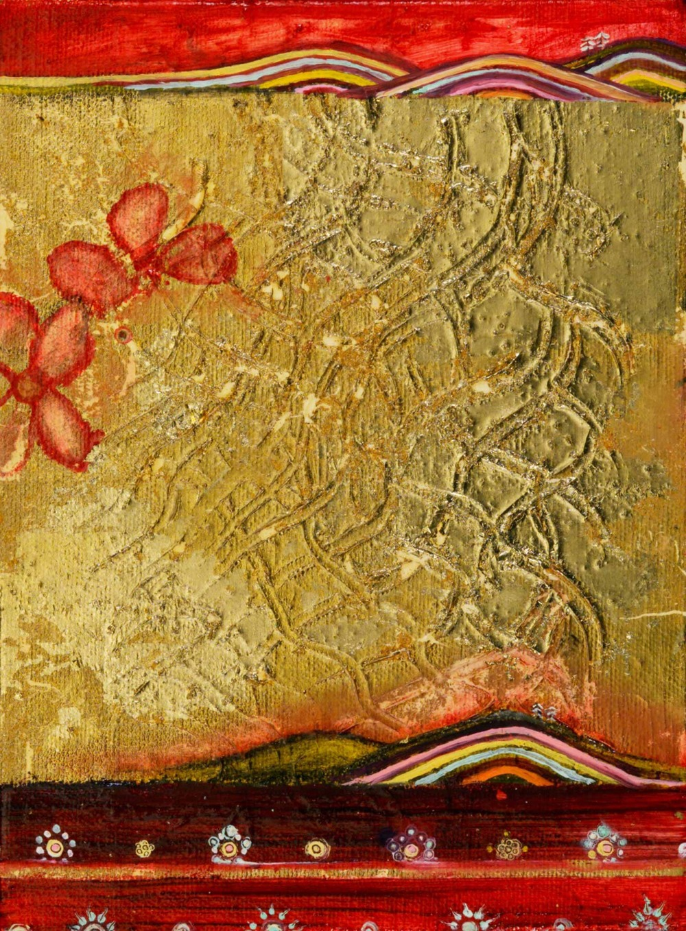 "Double Landscape (with Textured Gold) Oil, graphite, gold leaf on canvas       6"" x 8"" /     SOLD"