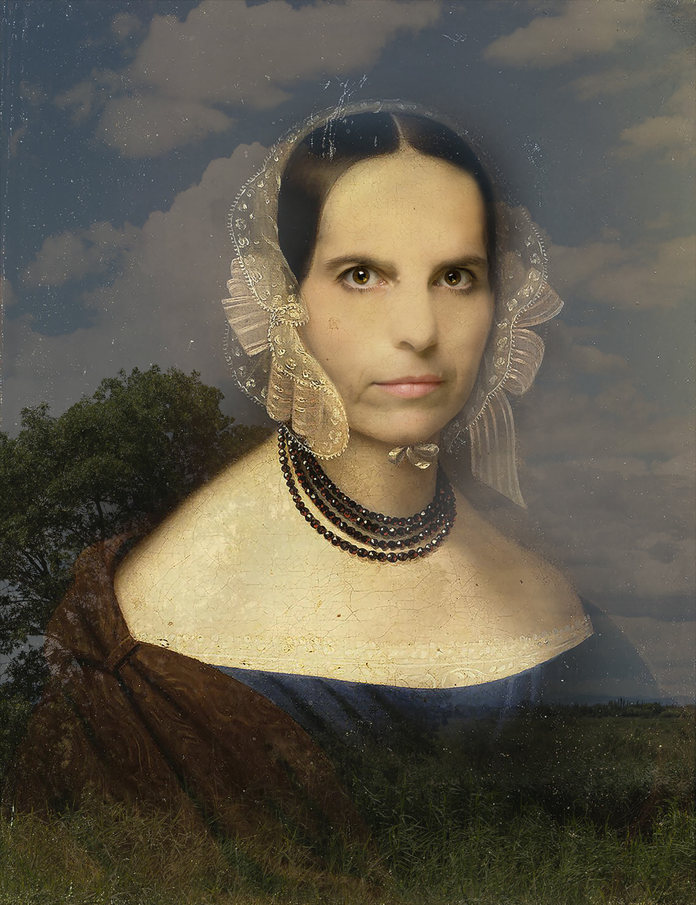 Myself as Woman with a Garnet Necklace (1843-2015) -  Original by Johan Huber Rudolf