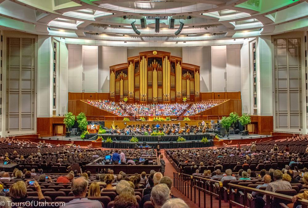 Mormon Tabernacle Choir on Salt Lake City Tours conference center.jpg