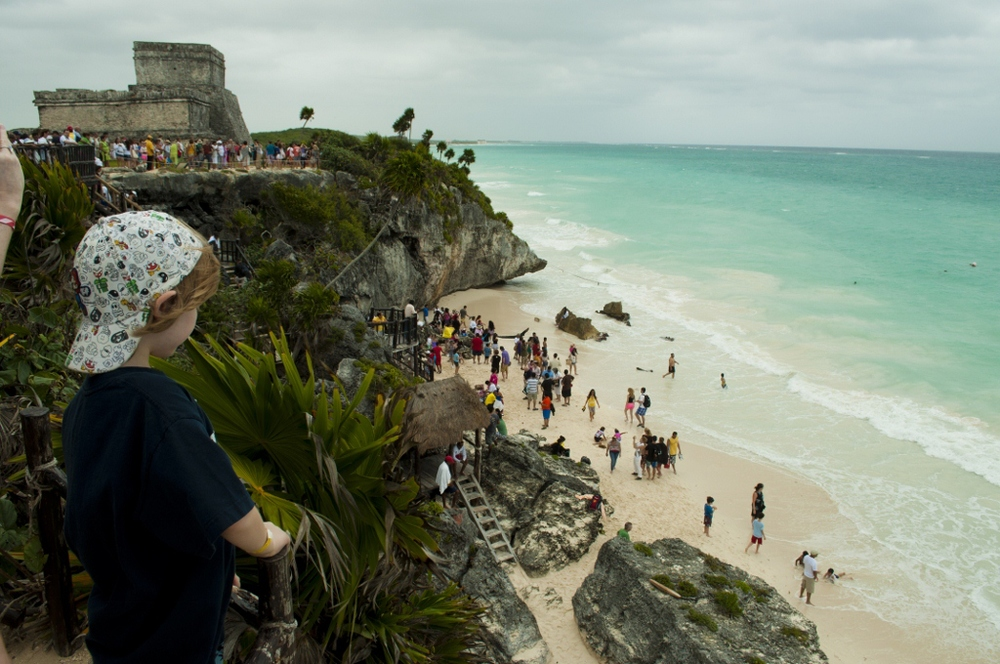 Luke overlooking the beach at Tulum in Coba, Mexico. December '12.