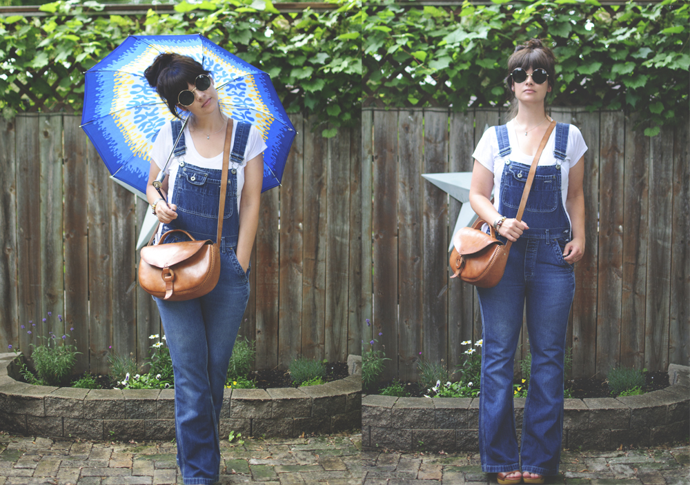 VINTAGE : 1960's umbrella with original zippered vinyl sleeve bought in a $20 box lot from original owner, early 1990's Silver Jeans coveralls thrifted for $12.99, Deadstock Lennonesque Sunglasses an Ebay find for $7.95.