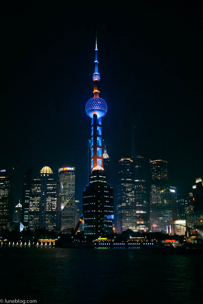 """Shanghai by night. Locals say """"black & white TV view in daytime - Colour TV view at night!"""