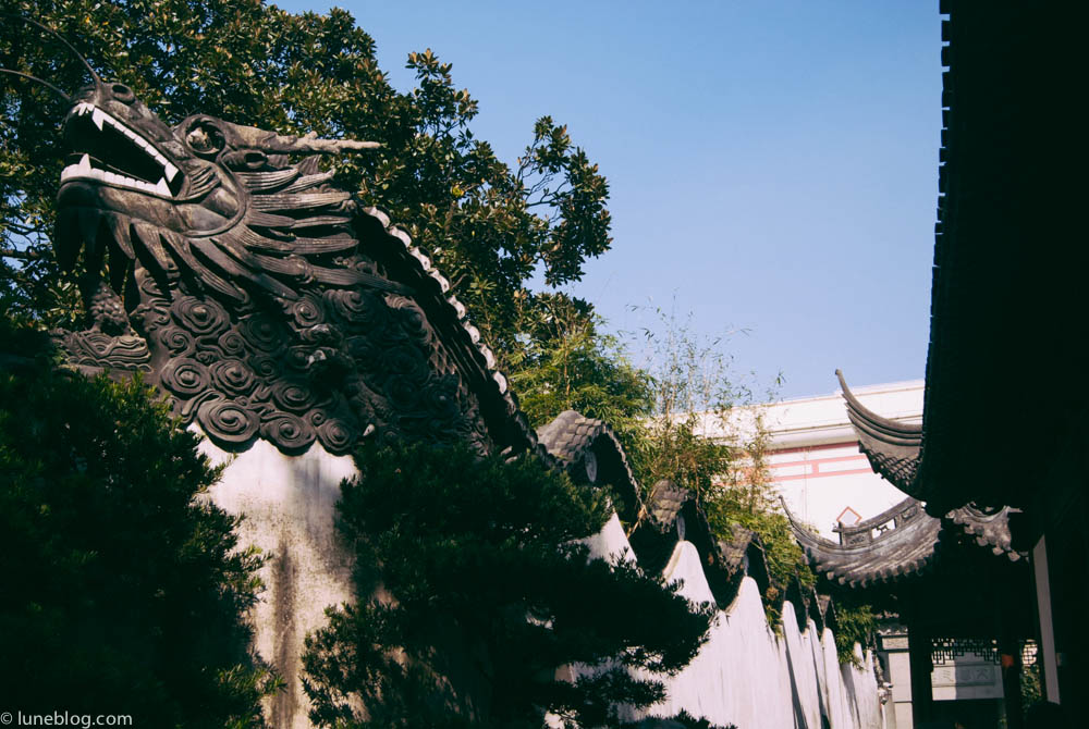 Dragon decorated wall around the 400 year old Yu Garden in Shanghai.