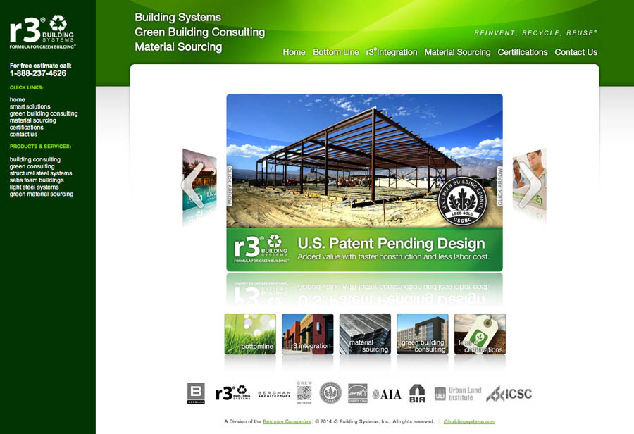 R3BUILDINGSYSTEMS  WEBSITE + HTML5 PROTOTYPE + WIREFRAMES   Roles:  Art Direction, Web Design, Developer, IA, UI, UX  Software:  Acrobat, InDesign, Illustrator, Photoshop  Programming:  PHP, HTML5, CSS, Javascript, jQuery UI, JQuery Tools, Content Delivery Network (CDN), jQuery Accordion Menu, Basic jQuery Slider, prototype.js, scriptaculous.js, lightbox.js, Responsive Design, preload.js