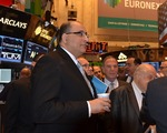 "Click photo to download. Caption: Ido Aharoni, consul general of Israel in New York, at the New York Stock Exchange's ""Israel Day"" Tuesday. Credit: Maxine Dovere."