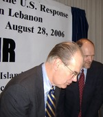 "Click photo to download. Caption: Profs. John Mearsheimer (left) and Stephen Walt, authors of ""The Israel Lobby,"" are what JNS.org columnist Ben Cohen calls ""Palestine-Firsters."" Credit: Carolmooredc/Wikimedia Commons."