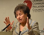 Click photo to download. Caption: U.S. Rep. Nita Lowey (D-NY) speaks at the annual Legislative Breakfast of the Jewish Community Relations Council of New York on Sunday. Credit: Maxine Dovere.