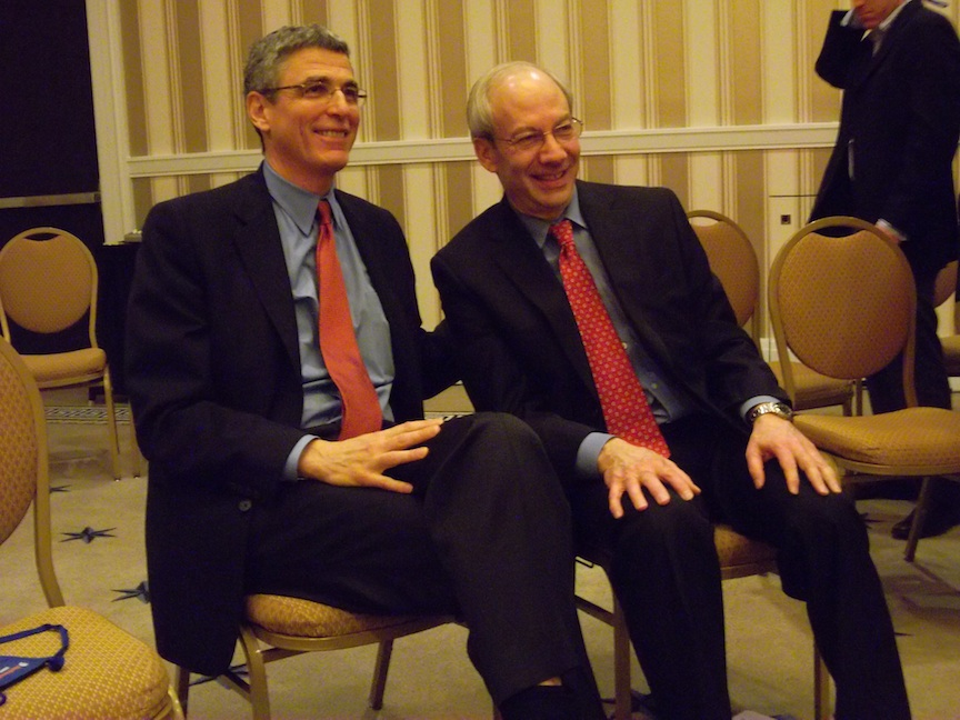 Click photo to download. Caption: Rabbi Rick Jacobs (left) and Rabbi Eric Yoffie pose for photos after a press session at the Union for Reform Judaism biennial. Credit: Jacob Kamaras.