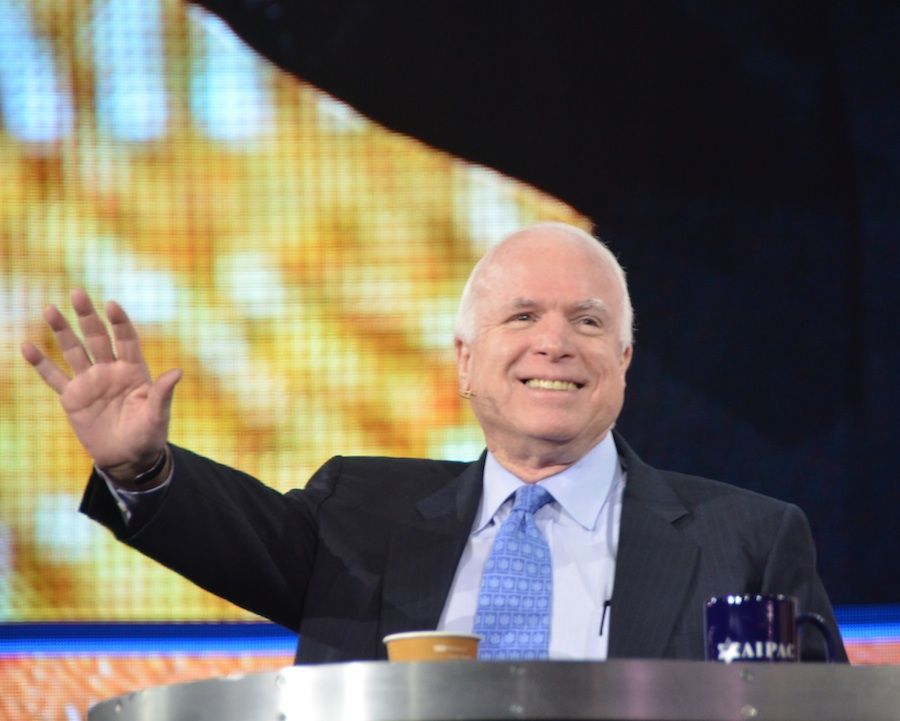 "U.S. Sen. John McCain (R-AZ), pictured at the 2013 AIPAC conference, told the crowd there, ""I have not seen the Middle East and the world in a more dangerous situation in my lifetime."" Credit: Maxine Dovere."