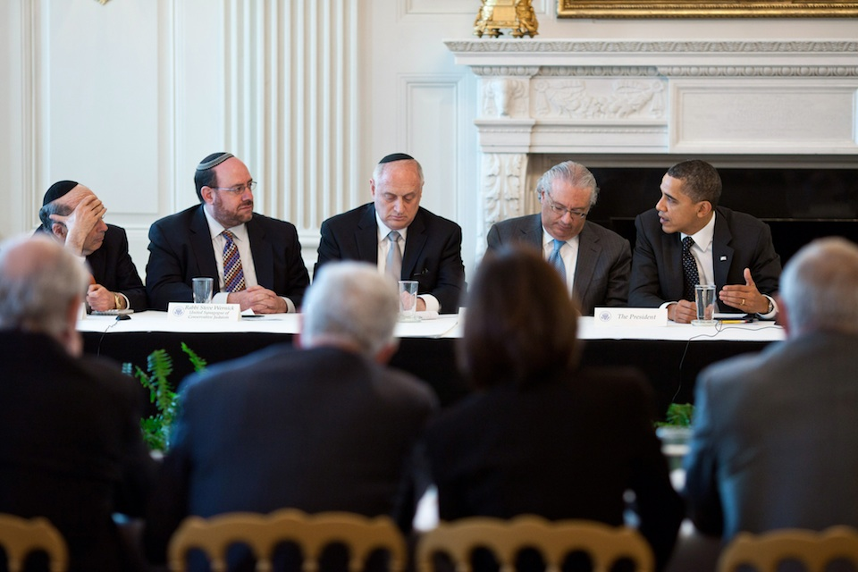 President Barack Obama meets with leaders from the Conference of Presidents of Major American Jewish Organizations in March 2011 at the White House. Credit: White House.