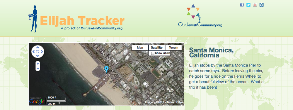 The homepage of ElijahTracker.com, which allows users to follow Elijah on his journeys during the week of Passover. Credit: Elijatracker.com.