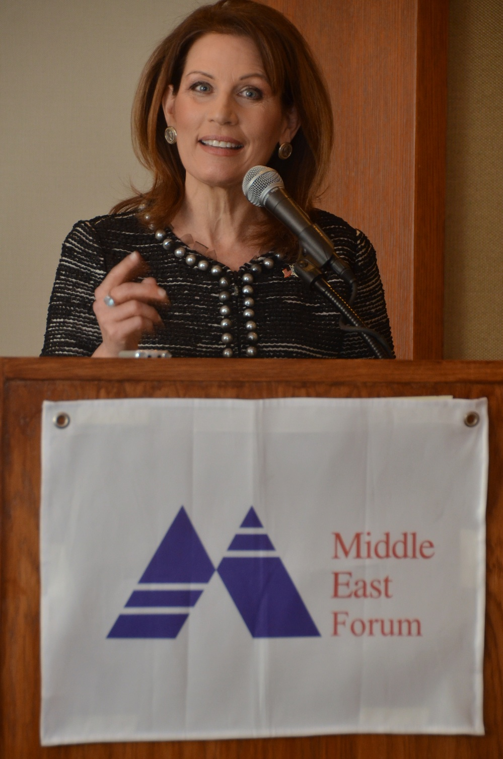 "Click photo to download. Caption: U.S. Rep. Michele Bachmann (R-MN) speaks at the recent ""Changing U.S. Policy on UNRWA and the 'Palestine Refugees'"" conference hosted by the Middle East Forum in New York City. Credit: Maxine Dovere."
