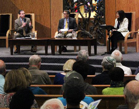 Click photo to download. Caption: From left to right, J Street Executive Director Jeremy Ben-Ami, moderator Mitchell Landsberg, and StandWithUs CEO Roz Rothstein during a debate at Temple Isaiah in Los Angeles on Monday night. Credit: StandWithUs.