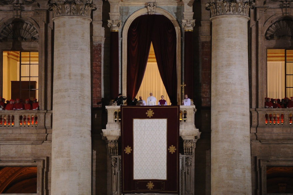 Click photo to download. Caption: Pope Francis appears to the public for the first time as pope at the balcony of St. Peter's Basilica, March 13, 2013. Credit: Tenan/Wikimedia Commons.
