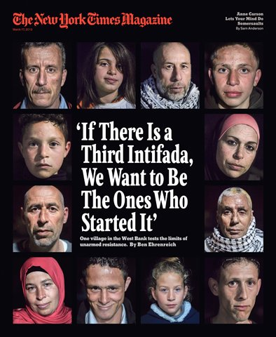 "Click photo to download. Caption: The New York Times Magazine cover that included the story, ""Is this where the third Intifada will start?"" Credit: New York Times."