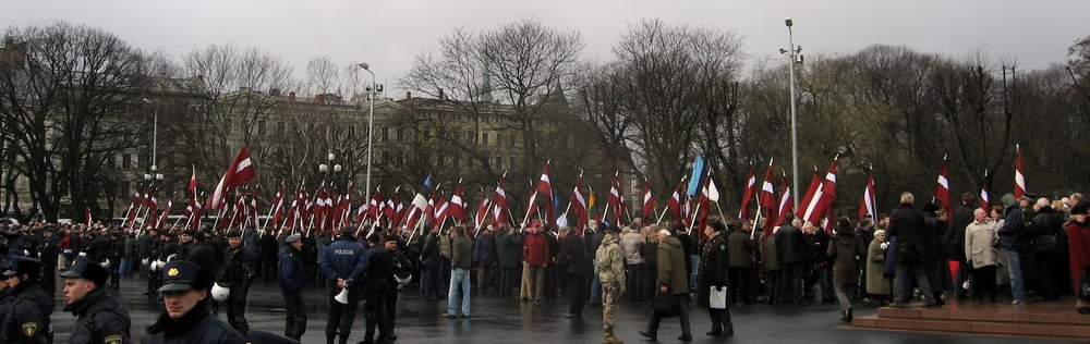 "Click photo to download. Caption: Latvia's ""Legion Day,"" commemorating the Nazi Waffen-SS, in 2008. Credit: Dezidor/Wikimedia Commons."