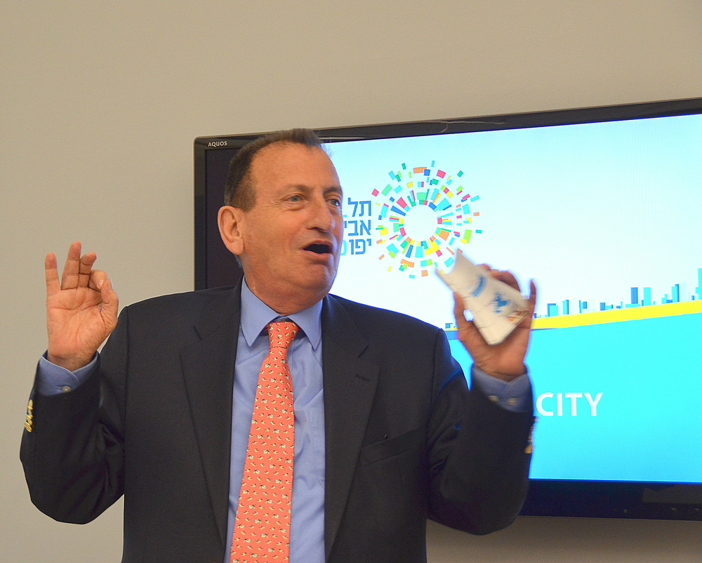 Tel Aviv Mayor Ron Huldai at a recent New York event during which he headlined a series of presentations by Tel Aviv-based start-ups. Credit: Maxine Dovere.