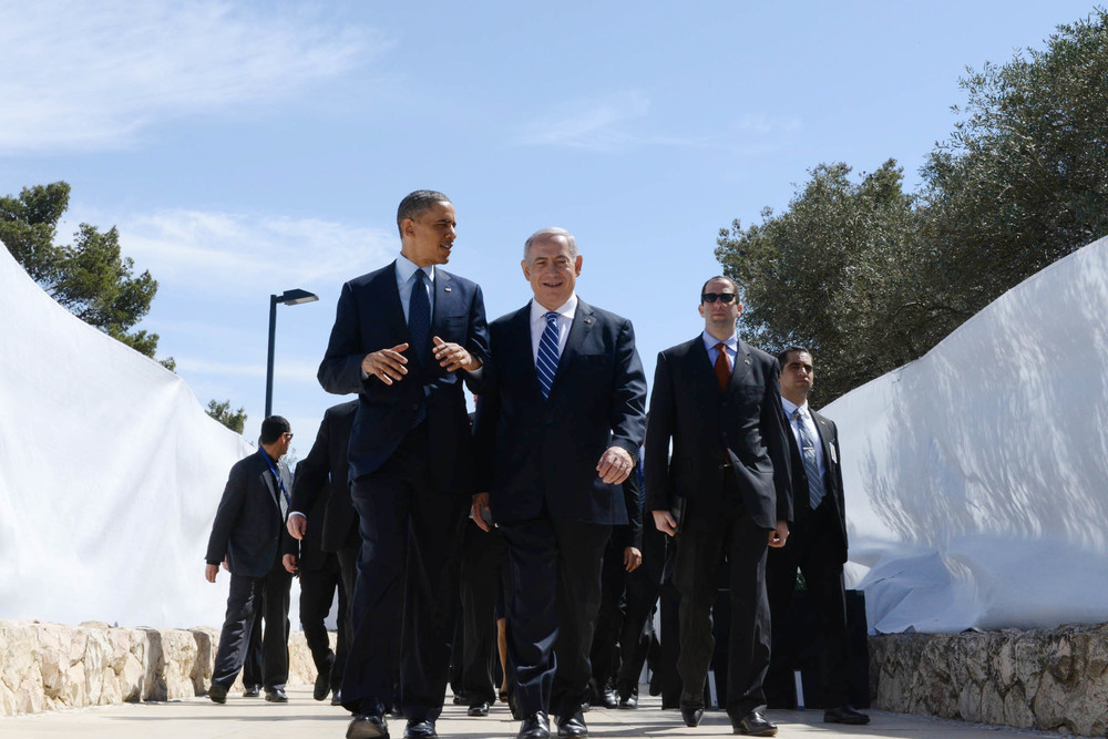 "Click photo to download. Caption: U.S. President Barack Obama and Israeli Prime Minister Benjamin Netanyahu seen during an exhibition of technological innovations, ""Israel Technology for a Better World,"" at the Israel Museum in Jerusalem on March 21, 2013, during Obama's three-day visit to the region. Credit: Kobi Gideon/GPO/FLASH90."