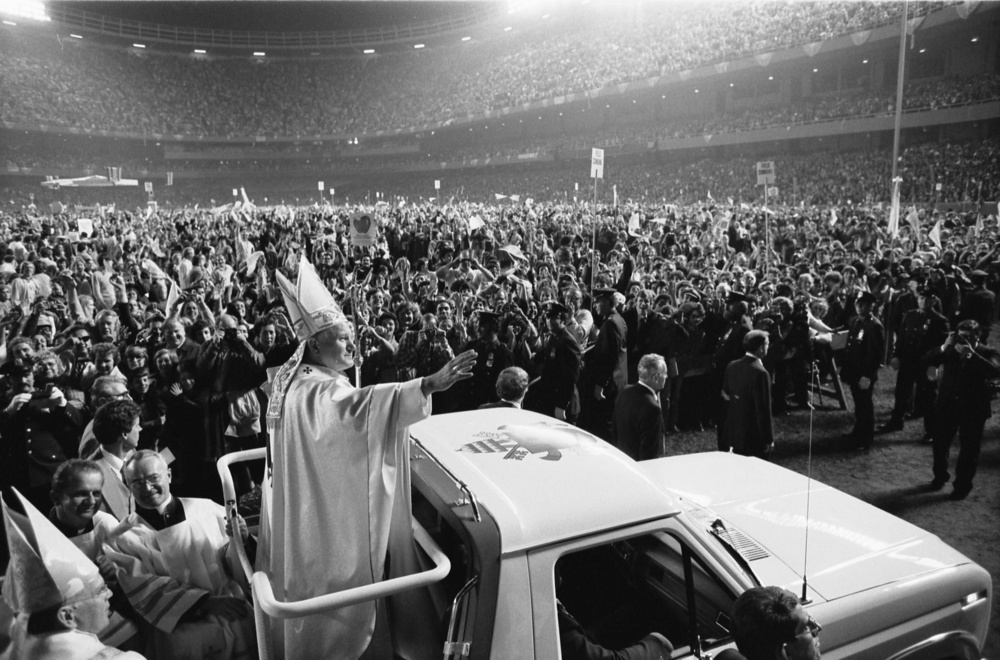 Click photo to download. Caption: Pope John Paul II at the old Yankee Stadium, New York City, in October 1979. Credit: Thomas J. O'Halloran.