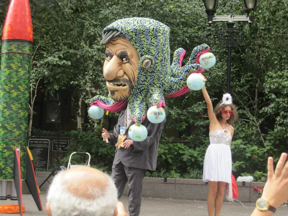 A super-sized Mahmoud Ahmadinejad at a pro-Israel demonstration in New York during UN Week. Credit: Todd Bronshtein.